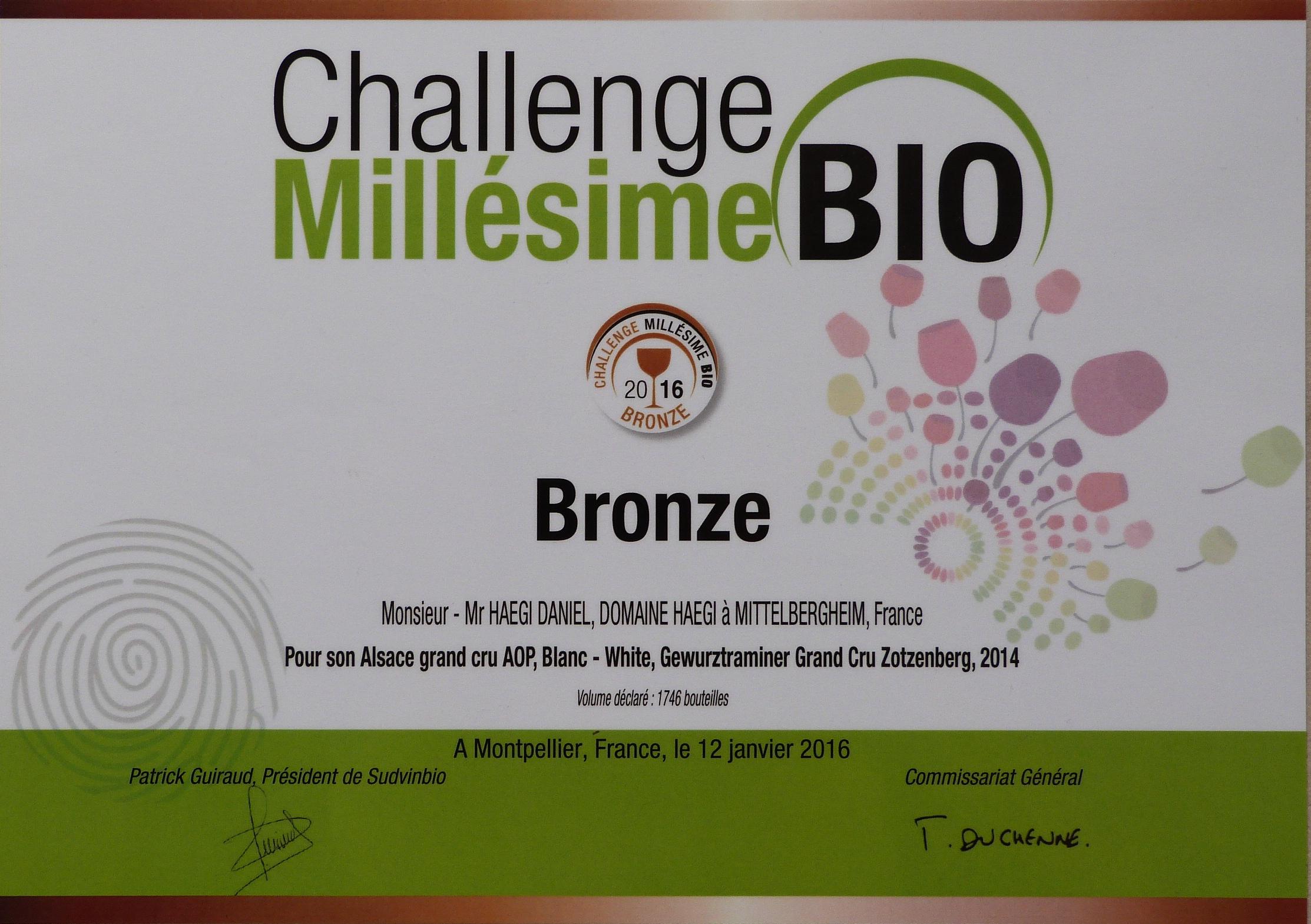 Gewurtraminer Grand Cru Zotzenberg 2014 Médaille de Bronze Challenge Millésime Bio 2016